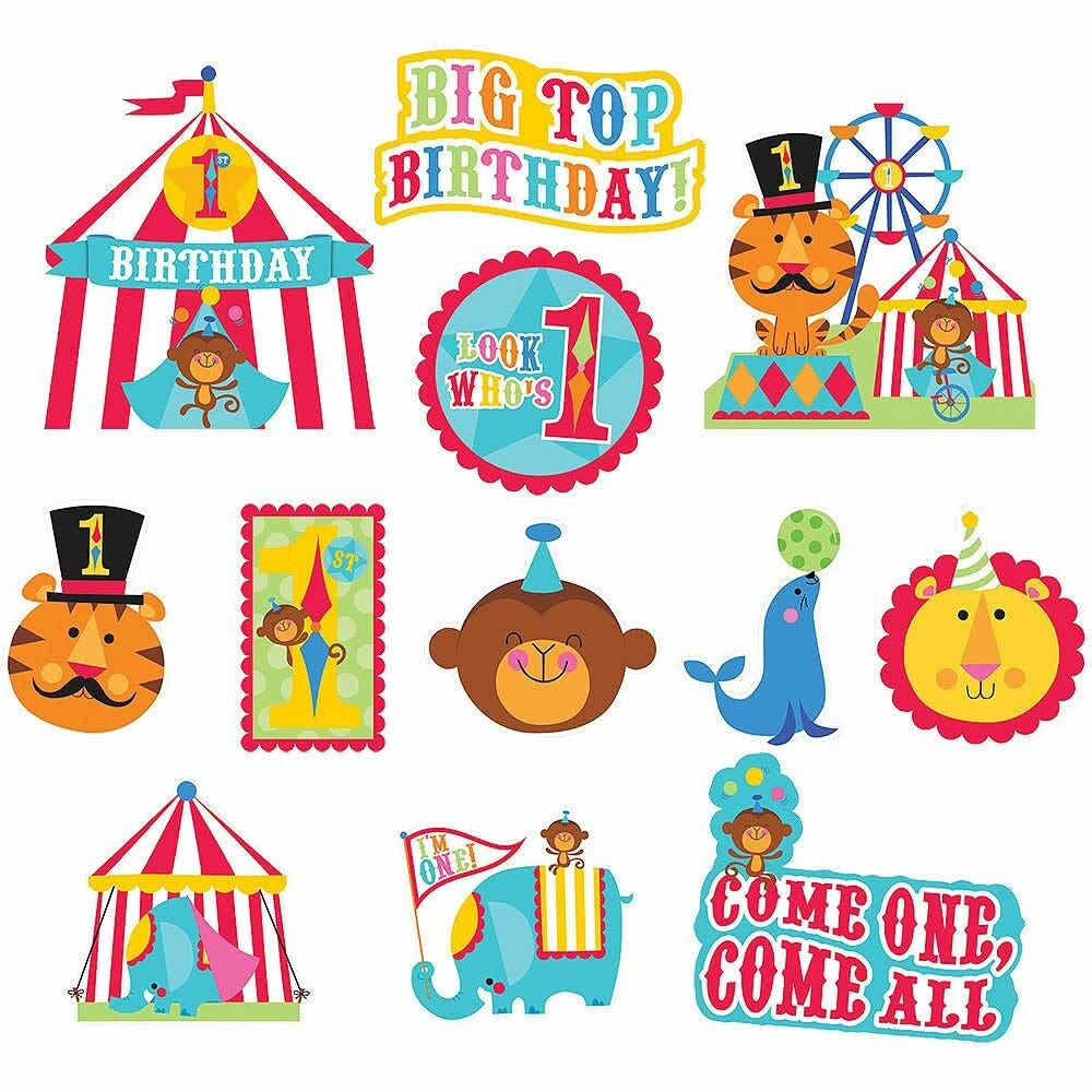 1st first birthday circus fisher price 12 cutouts room