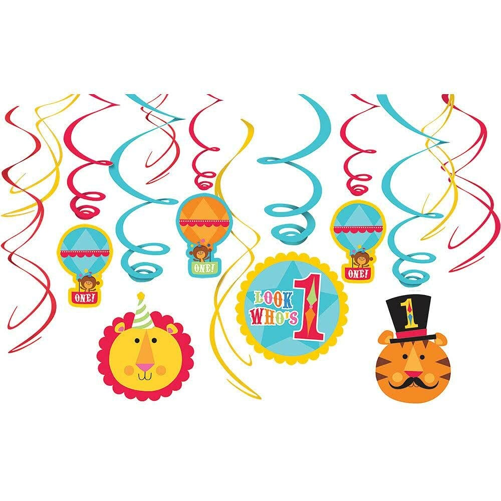 1st first birthday circus party supplies hanging swirl for 1st birthday decoration packs