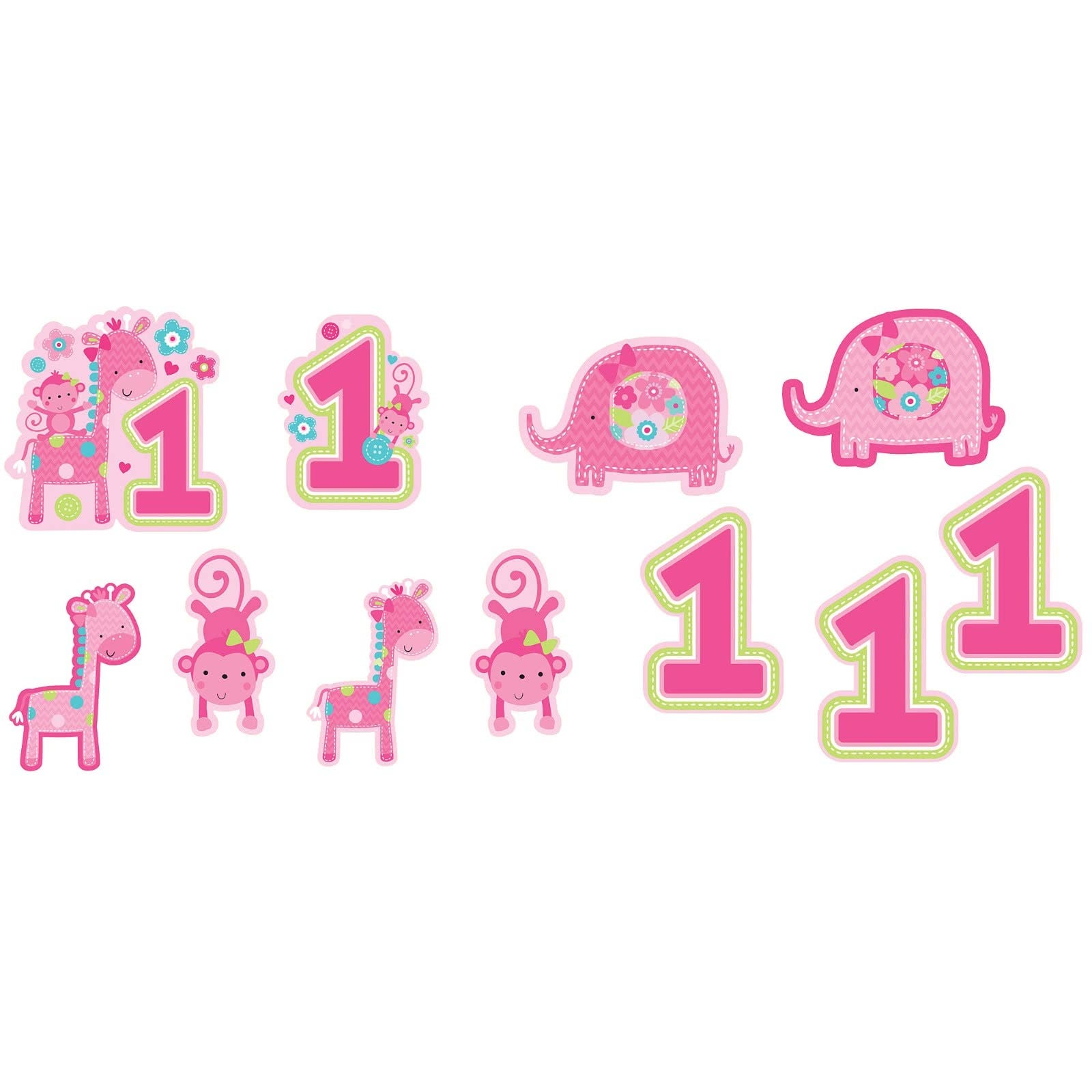 Girls 1st first birthday one wild girl pack of 12 cutouts for 1st birthday decoration packs