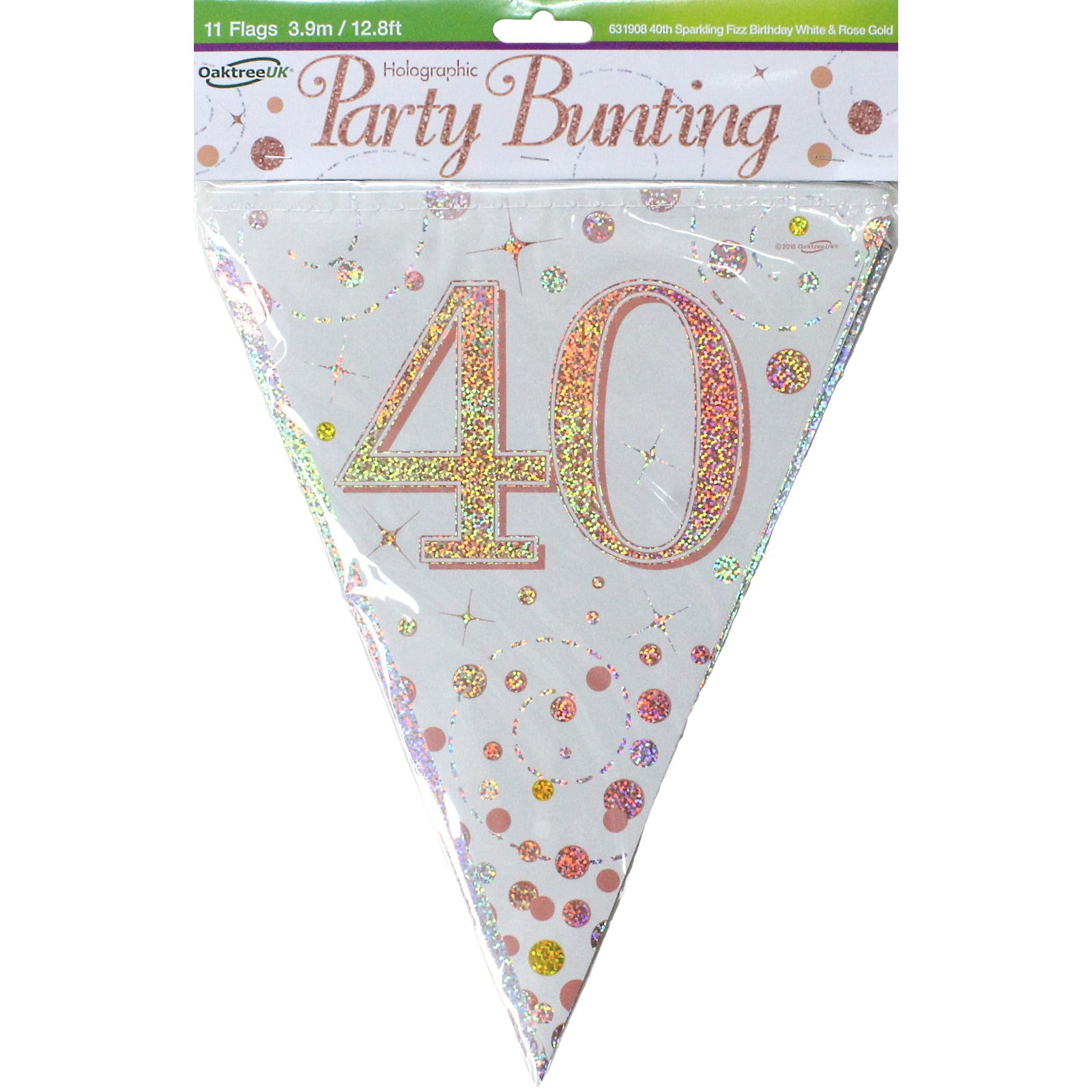3.9m Flag Bunting Sparkling Fizz Birthday WHITE /& ROSE GOLD  Holographic Choose