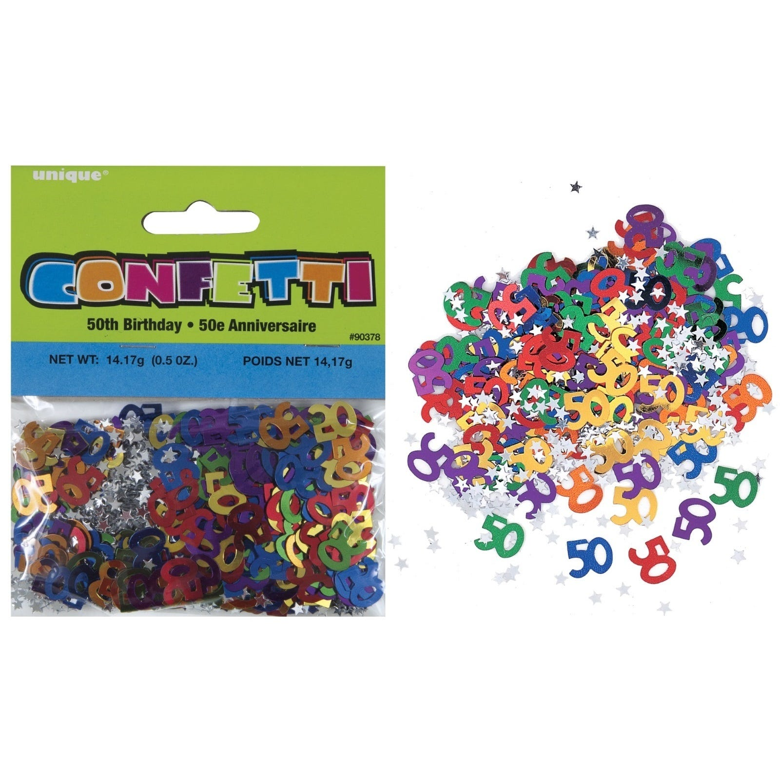 50th birthday party decorations pack of coloured foil