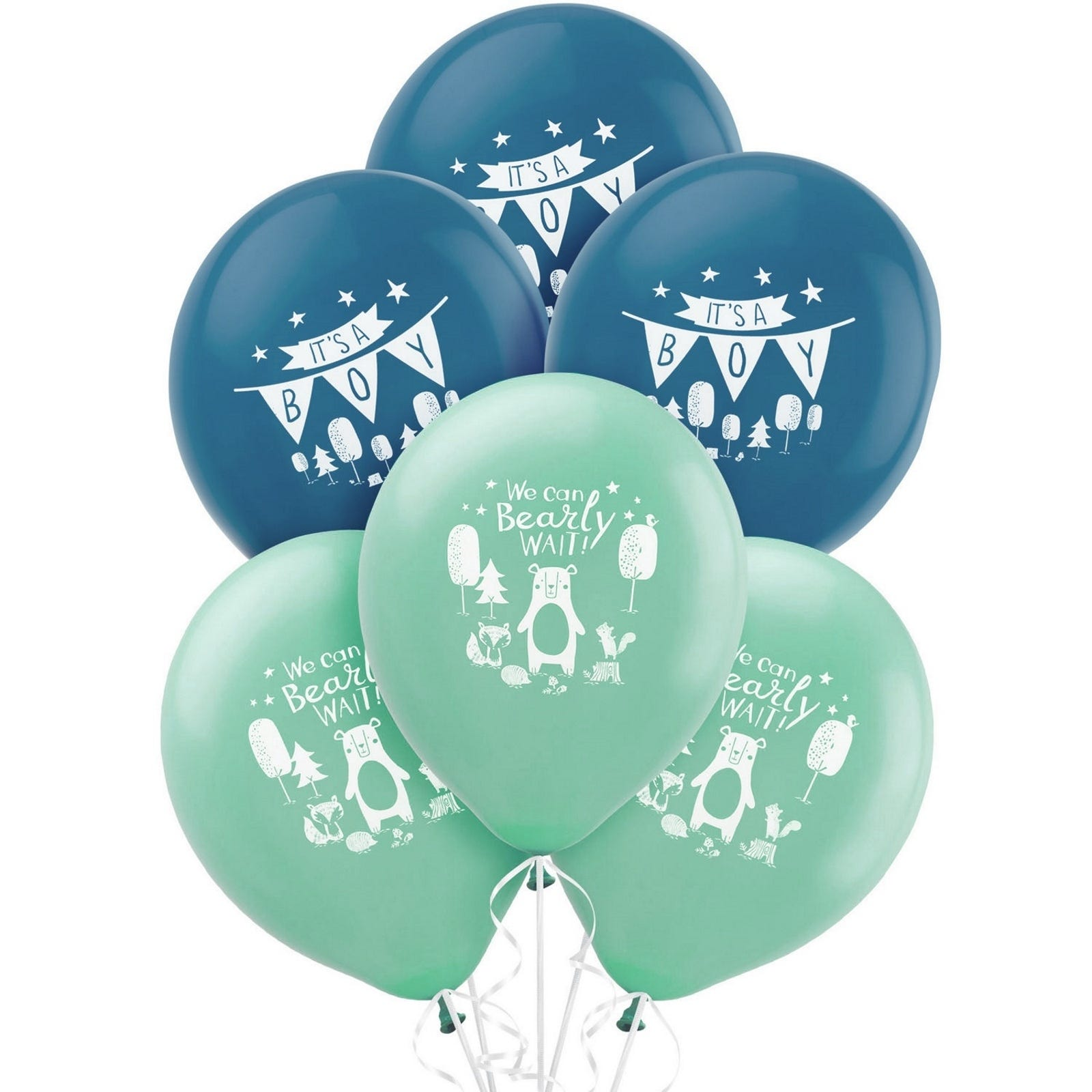 NEW We Can Bearly Wait Baby It/'s A Boy Shower Balloons Bear Woodland