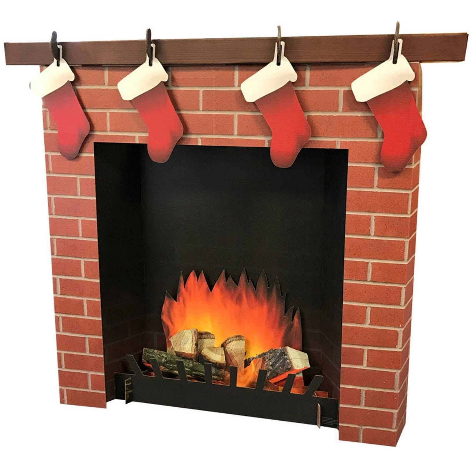 Cardboard Christmas Fireplace.Details About 3d Christmas Fireplace With Stockings Stand Up Cardboard Decoration Photo Prop