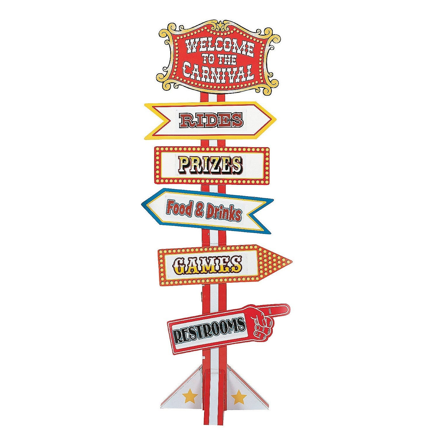 Greatest BIG TOP CIRCUS CARNIVAL PARTY DIRECTIONAL YARD SIGN CARDBOARD  LE68