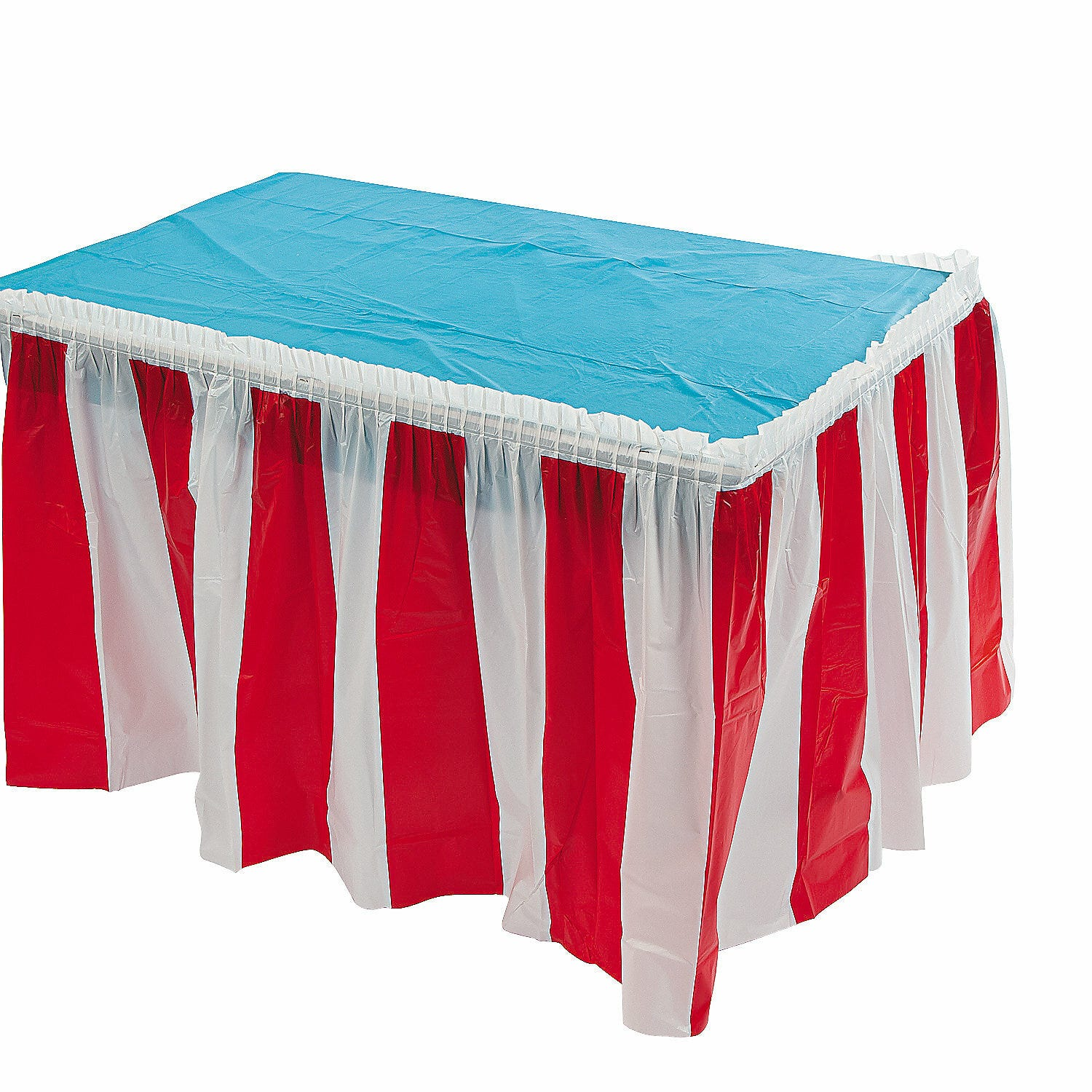 Red white striped circus carnival party supplies plastic for Table skirting