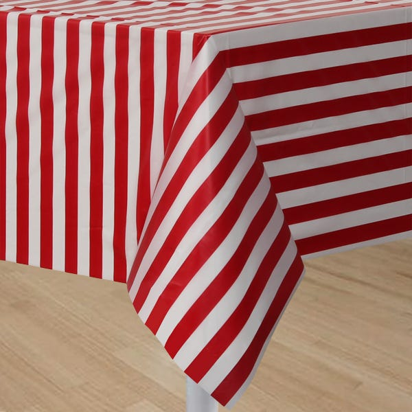 CIRCUS TIME RED U0026 WHITE STRIPED PLASTIC TABLECLOTH TABLE COVER PARTY  SUPPLIES 39938090494 | EBay