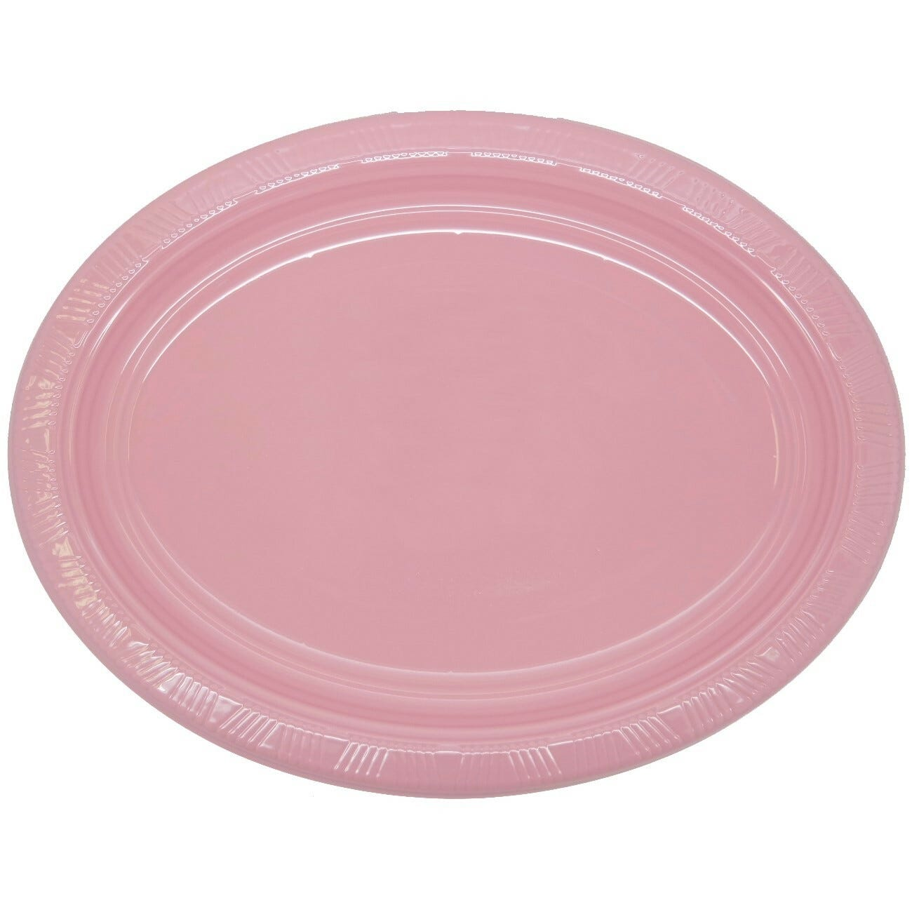 Light Pink Pack Of 5 Large Oval Shaped Plastic Plates