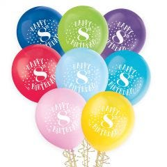 Bunch of 8 Happy 8th Birthday latex helium quality coloured balloons