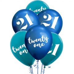 21st Birthday Shimmer Blue Mix Balloons (Pack of 6)