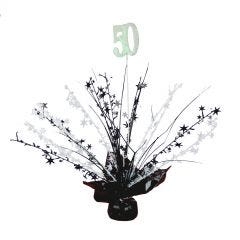 50th Black & White Balloon Weight Table Centrepiece