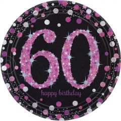 Pink Celebration 60th Birthday Large Paper Plates (Pack of 8)