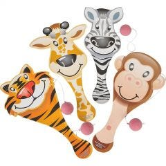 Zoo Animal Wooden Paddleball Toys (Pack of 12)