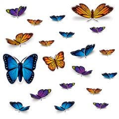 Wild Butterfly Cutout Decorations (Pack of 20)