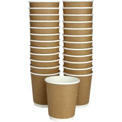 Double Wall Kraft Paper Coffee Cups 250ml (Pack of 25)