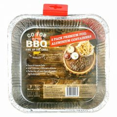 Square Foil Containers 205mm x 205mm x 42mm (Pack of 5)