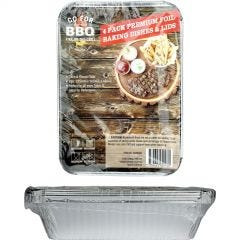 Foil Trays with Lids 225mm x 165mm x 48mm (Pack of 4)