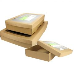 Brown Cardboard Grazing Boxes With Lids (Set of 3)