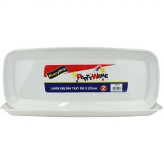 Large Oblong Plastic Serving Trays (Pack of 2)