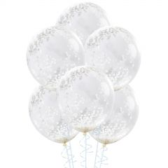 White Pre-filled Confetti Balloons (Pack of 6)