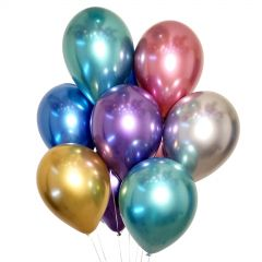 Assorted Chrome Balloons 30cm Round (Pack of 12)