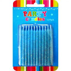 Blue Glitter Candles (Pack of 12)