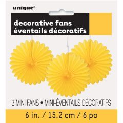 Yellow Mini Tissue Paper Fan Decorations (Pack of 3)