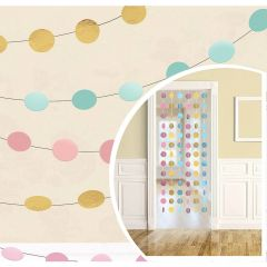 Pastel Mint Green Pink Coral and Gold Dot Garlands (Pack of 6)