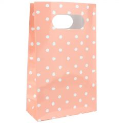 Pastel Coral and White Dot Paper Treat Bags (Pack of 6)