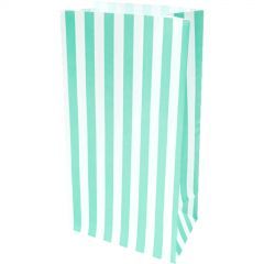 Mint and White Stripe Paper Lolly/Treat Bags (Pack of 10)
