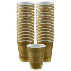 Gold Plastic Cups (Pack of 12)
