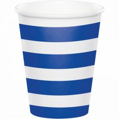 Blue and White Striped Paper Cups (Pack of 8)
