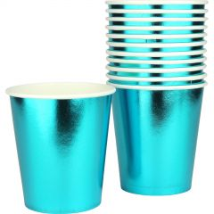 Blue Foil Paper Cups (Pack of 12)