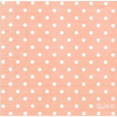Pastel Coral and White Dot Large Napkins / Serviettes (Pack of 20)