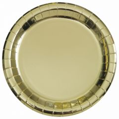 Gold Foil Large Round Paper Plates (Pack of 8)