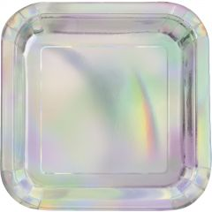 Silver Foil Large Square Paper Plates (Pack of 8)