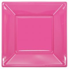 Hot Pink Large Plastic Plates (Pack of 8)
