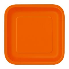 Orange Small Paper Plates (Pack of 16)