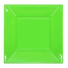 Lime Green Small Plastic Plates (Pack of 12)