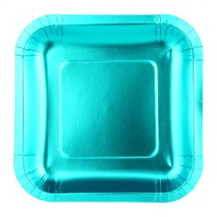 Blue Foil Square Small Paper Plates (Pack of 12)