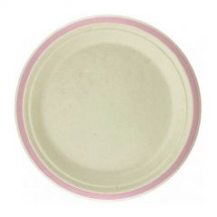 Light Pink Rim Sugar Cane Small Plates (Pack of 10)