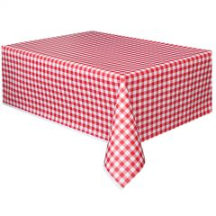 Red Gingham Plastic Tablecloth