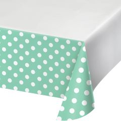 Mint Green and White Polka Dot Plastic Tablecloth