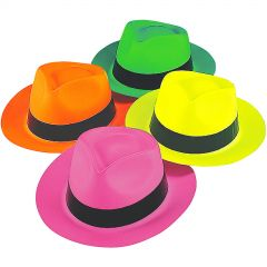 Neon Gangster Hats (Pack of 12)