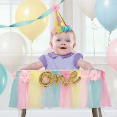 Girls 1st Deluxe Pastel Rainbow High Chair Decoration