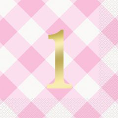 Pink Gingham 1st Birthday Girl Large Paper Napkins / Serviettes (Pack of 16)