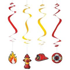 Firefighter Swirl Decorations (Pack of 12)
