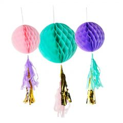 Pastel Light Pink, Purple & Teal Puff Balls With Gold Tassels