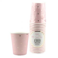 Pink and Gold Foil Dot Paper Cups (Pack of 20)
