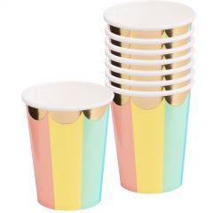 Pastel Rainbow Candy Stripe Paper Cups - Pack of 8