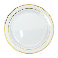 Gold Dual Trim Small Plastic Plates (Pack of 6)